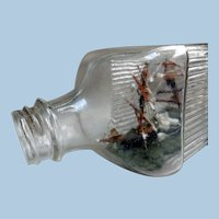 Early Ship in a Bottle, Folk Art, Hand-Made