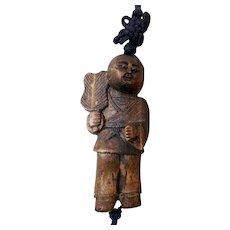 Hand-Carved Wooden Netsuke, Cord, & Tassels