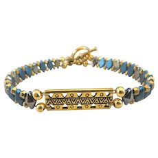 Handmade Double-Strand DiamonDuo Bracelet with Gold Plated Native American Ethnic Bar Link