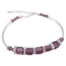 Handmade Squaredelle Swarovski Crystal and Purple Amethyst Swarovski Crystal Bangle Bracelet