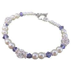 Swarovski Blue Tanzanite Crystal Pearl Bracelet, Pave Crystal Handmade Bracelet