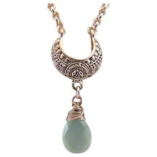 Aqua Chalcedony Faceted Briolette Drop Pendant on a Silver-plated Crescent Moon Necklace