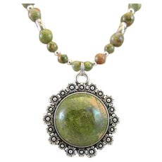 Unakite Cabochon Pendant and Unakite Gemstone Handmade Necklace, Wellness Third Eye Chakra
