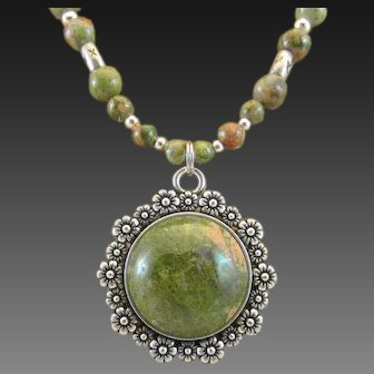 Unakite Cabochon Pendant and Unakite Gemstone Handmade Necklace, Wellness Third Eye Chakra
