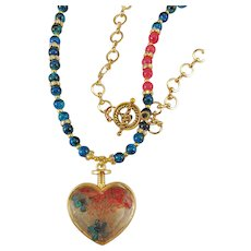 Large Glass Heart Locket with Flower Enclosed Pendant Blue Glass Bead Necklace