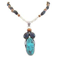Handmade Chrysocolla Feminine Empowering Stone Pendant, Gold and Blue Goldstone Gemstone Necklace