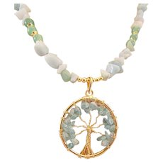 Tree of Life Pendant with Green Aventurine Chips and Gemstones Necklace, Prosperity Chakra