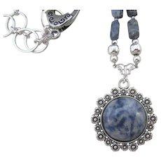 Blue Sodalite Scalloped Pendant Southwestern Style Necklace, Dusty Blue Gemstone Necklace