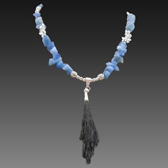 Black Kyanite Natural Fan Pendant with Blue Kyanite Chips Necklace