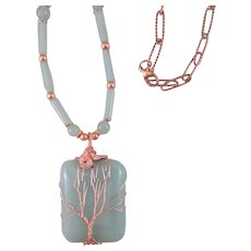 Tree of Life Green Aventurine Copper Wire Wrapped Pendant Chakra Necklace, Green Necklace