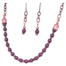 Swarovski Crystal Glass Pearls in Grape Blackberry Copper Necklace, Purple Necklace