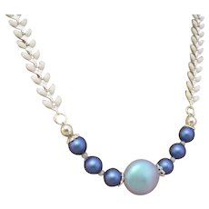 Blue Swarovski Crystal Pearl with Chevron Link Necklace