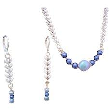Swarovski Crystal Pearl, Chevron Link Necklace, Chevron Chain, Blue Swarovski Crystal, Crystal Coin