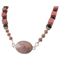 Rhodonite Cabochon Pendant and Rhodonite Gemstone Necklace, Compassion Chakra