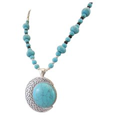 Southwestern Style Blue Dyed Howlite Cabochon and Howlite Rondelle Gemstone Necklace, Stress Relieving Chakra