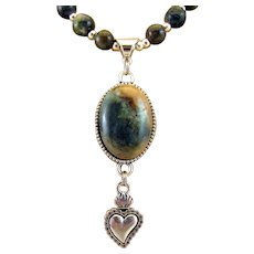 Dark Green Moss Agate Cabochon Pendant and Gemstone with Milagro Charm Necklace, Stone of Abundance