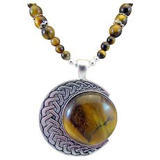 Handmade Southwestern Style Tiger's Eye Cabochon with Tiger's Eye Gemstone Necklace and Earrings