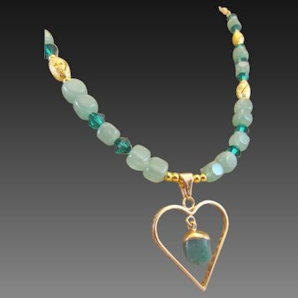 Green Aventurine Chunk Heart with Swarovski Crystal Necklace and Earrings, Lucky Talisman Chakra