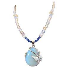 Blue Opalite Teardrop Pendant with Enamel Butterfly Swarovski Crystal Handmade Necklace Set