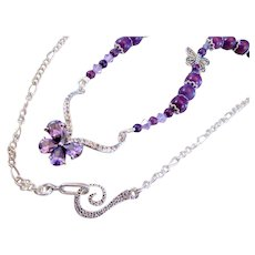 Purple Cubic Zirconia Butterfly and Dyed Grape Howlite with Swarovski Crystal Handmade Necklace Set