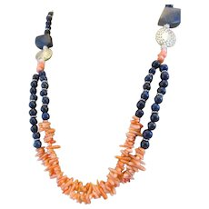 Handmade Double Strand Dyed Salmon Pink Coral Cupolini and Lapis Lazuli Gemstone Necklace, Wealth Chakra