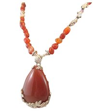 Carnelian Drop Cabochon Pendant Carnelian Pebbles and Turtle Charms Necklace, Second Chakra