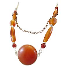 Handmade Round Carnelian Pendant with Carnelian Nuggets Choker Necklace Set, Life Improving Chakra