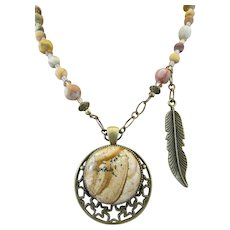 Handmade Picture Jasper Cabochon Pendant with Red Creek Matte Jasper Necklace and Earrings