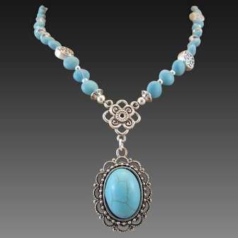 Southwestern Style Teal Magnesite Cabochon and Magnesite Gemstone Necklace, Relaxing Chakra