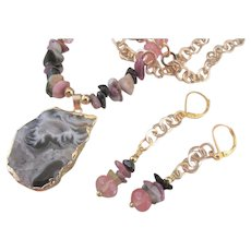 Pink and Watermelon Tourmaline and Gray Druzy Pendant Necklace and Earrings, Healing Soothing Chakra