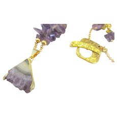 Amethyst Triangle Druzy Pendant with Amethyst Chip Gemstone Necklace, Cleansing Chakra