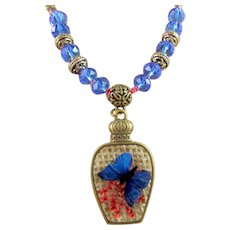 Pressed Flower and Butterfly Teardrop Pendant, Dried Flower Under Glass Brass Necklace Set for Women