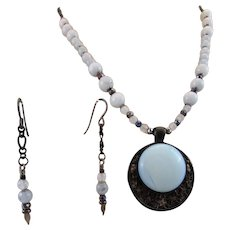 Handmade Blue Opalite Round Cabochon in a Black Setting Natural Blue Agate Necklace, Healing Chakra