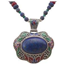 Handmade Southwestern Style Enameled Lapis Pendant with Lapis and Red Agate Necklace, Wisdom Chakra