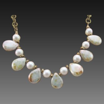 Dove Grey Swarovski Pearls and Opaque Green Czech Glass Drop Brass Handmade Necklace and Earrings