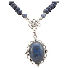 Handmade Lapis Lazuli Victorian Style Pendant and Lapis Gemstone Necklace, Throat Third Eye Chakra