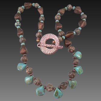 Handmade Round Dzi Bead and Turquoise Color Czech Briolette Necklace Set, Positive Energy Stone