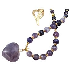 Solid Amethyst Heart Pendant with Round Amethyst Gemstones and Heart Toggle Handmade Necklace