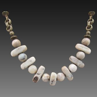 Handmade White African Opal Gemstone Brass Necklace and Earrings, Calming Chakra