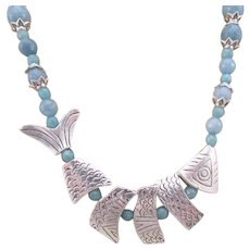 Fish Jewelry, Engraved Pewter Fish Focal Necklace Set with Blue Gray Gemstone Handmade Necklace