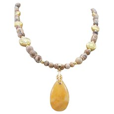 Yellow Chalcedony Drop Focal with Picture Jasper Handmade Necklace and Earrings, Healing Stone