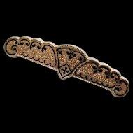 Taille d'Epargne Black Enamel Victorian Brooch Bar Pin