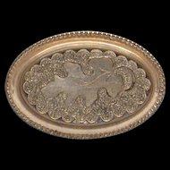 Amazing Victorian Gold Filled Oval Brooch Oak Leaf Engraving