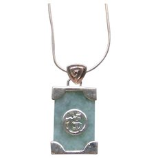 Good Luck Sterling Silver Green Jade Pendant Sterling Silver Necklace Healing