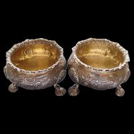 Antique Victorian London Repousse Master Salt Cellars in Sterling Silver By William Chinnery Circa 1845
