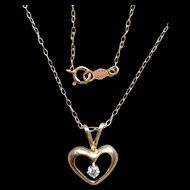 Cute Little Diamond Heart Pendant in 14 Karat Yellow Gold 15 Inch Choker Necklace