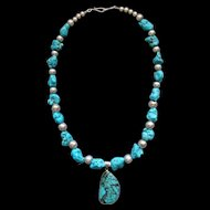 Southwestern Sterling Silver Beads And Blue Turquoise Nugget Necklace With Turquoise Pendant