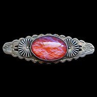 Native American Fred Harvey Era Sterling Silver Large Dragon's Breath Jelly Opal  Thunderbird Brooch Pin