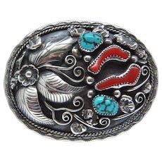Magnificent Sterling Silver Sky Blue Kingman Turquoise Nuggets Red Coral Signed Albert McCabe Navajo Vintage Belt Buckle