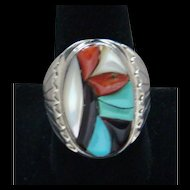 Vintage 1980's Sterling Silver Inlaid Cobblestone Signed Richard & Geneva Terrazas Zuni Men's Ring